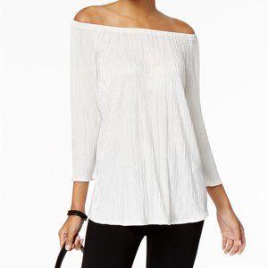 !~ Ivory Off Shoulder Metallic Blouse Shirt Top ~!